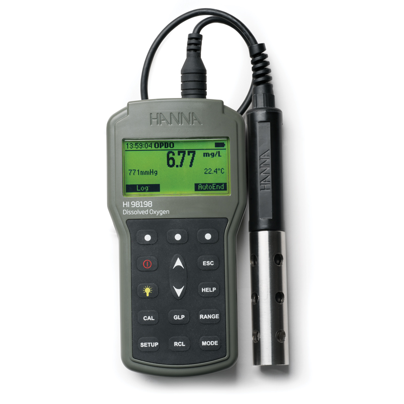 Hanna Instruments optical dissolved oxygen meter. HI98198
