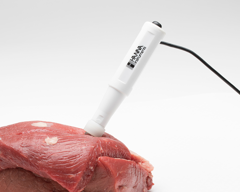 Meat with pH probe
