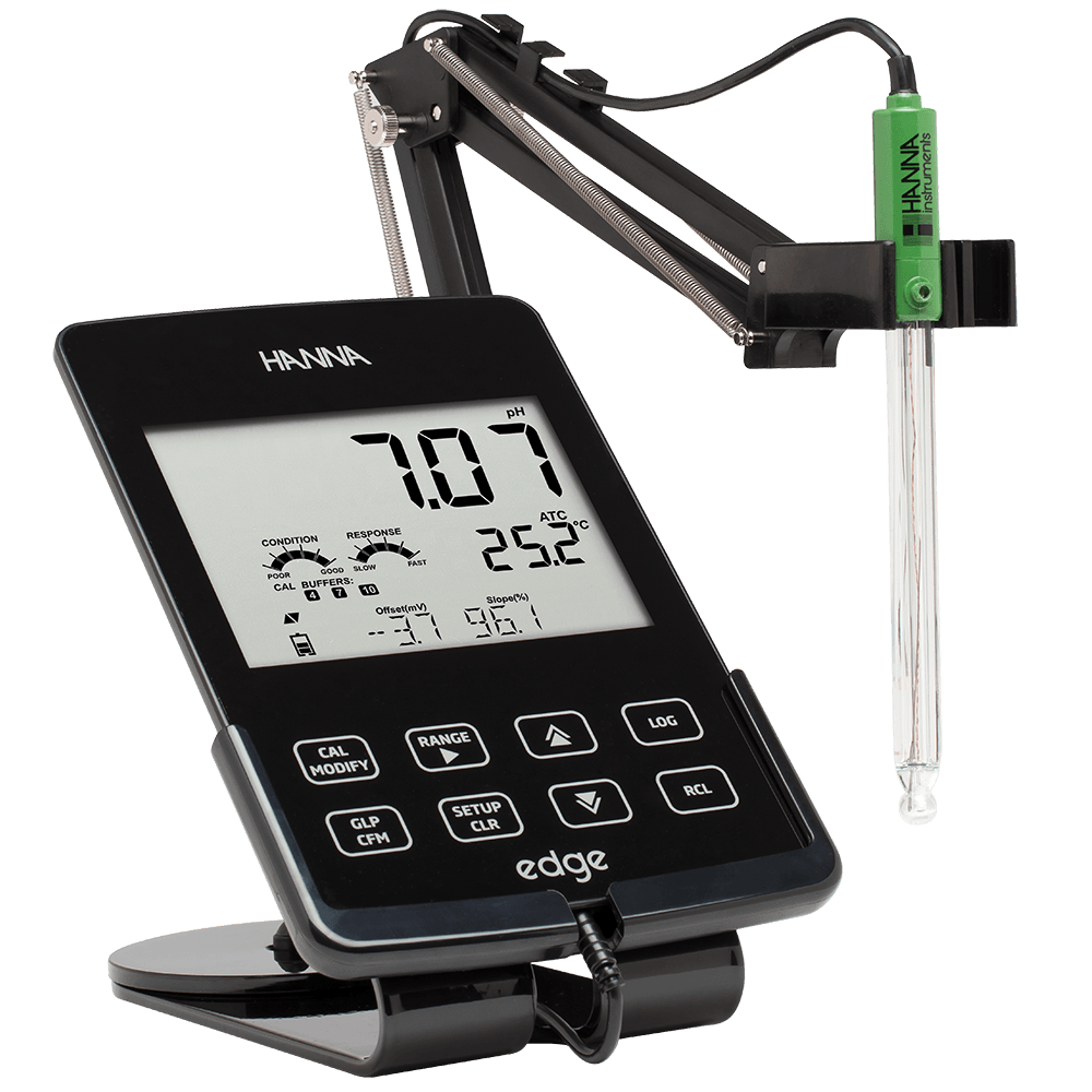Hanna Instruments edge laboratory pH, conductivity, and dissolved oxygen meter.